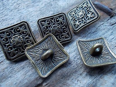 Pack of 10 Metal Shank Square Flower Carved Buttons 13mm.