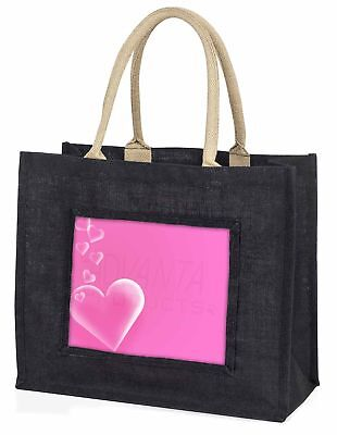 rosa Herzen love Geschenk große schwarze Einkaufstasche Weihnachten Geschenkidee