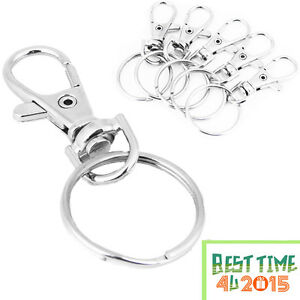 Silver-Tone-Basic-Lobster-Trigger-Swivel-Clasps-Split-For-Keyring-Hook-Fob-Ring