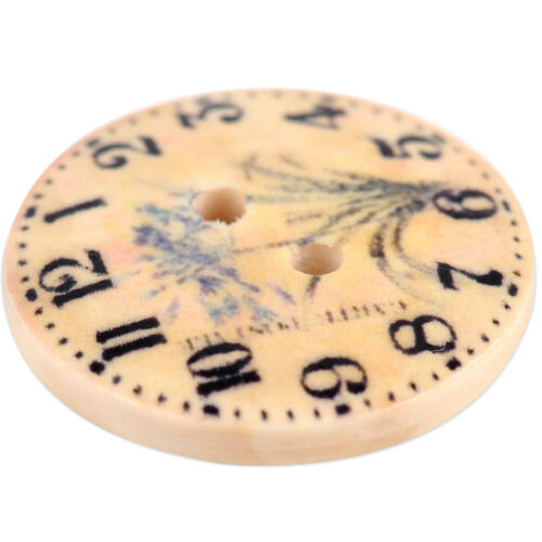 50stk Uhr Holzknöpfe 2 Löcher NAhen Basteln Runde Clock Buttons Kinder DIY 2cm