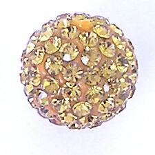 10 Light Topaz Rhinestone clay pave 10mm beads for Shamballa Bracelets
