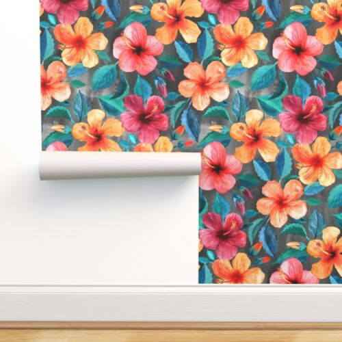 Peel-and-Stick Removable Wallpaper Hibiscus Hawaiian Tropical Floral Leaves