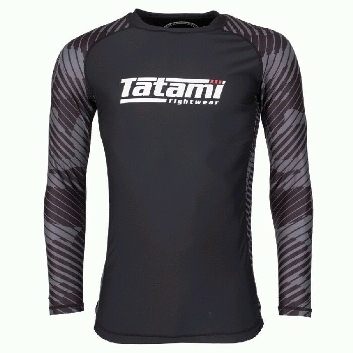 Tatami Renegade Grey BJJ Rash Guard Mens Long Sleeve Jiu Jitsu Compression Top