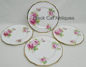 Lovely-Royal-Albert-American-Beauty-Lot-4-Salad-Luncheon-Plates-8-1-8-034-England