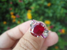 Natural Blood Red (4.8 Carats) & Pinkish RUBY  925 STERLING SILVER RING S4.5