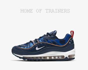 Details about Nike Air Max 98 Midnight Navy Cobalt White Girls Women's Trainers All Sizes