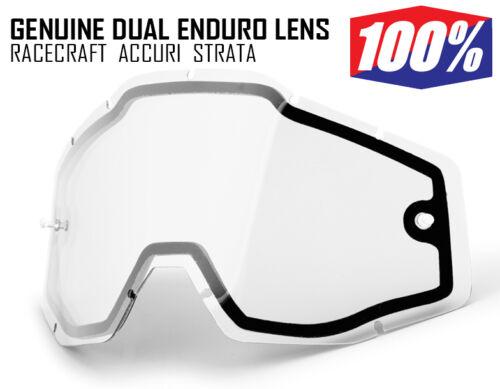 100/% MOTOCROSS ENDURO GOGGLE GENUINE DUAL CLEAR LENS fit Racecraft Accuri Strata