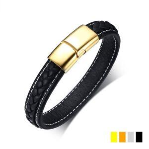 Black-Genuine-Leather-Bracelet-Men-039-s-Silver-Gold-Black-Clasps-Stainless-Steel
