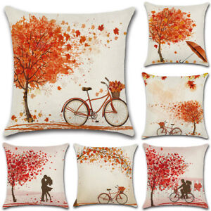 The Fall Maple Leaf Cotton Linen Throw Pillow Case Valentine's Day Cushion Cover