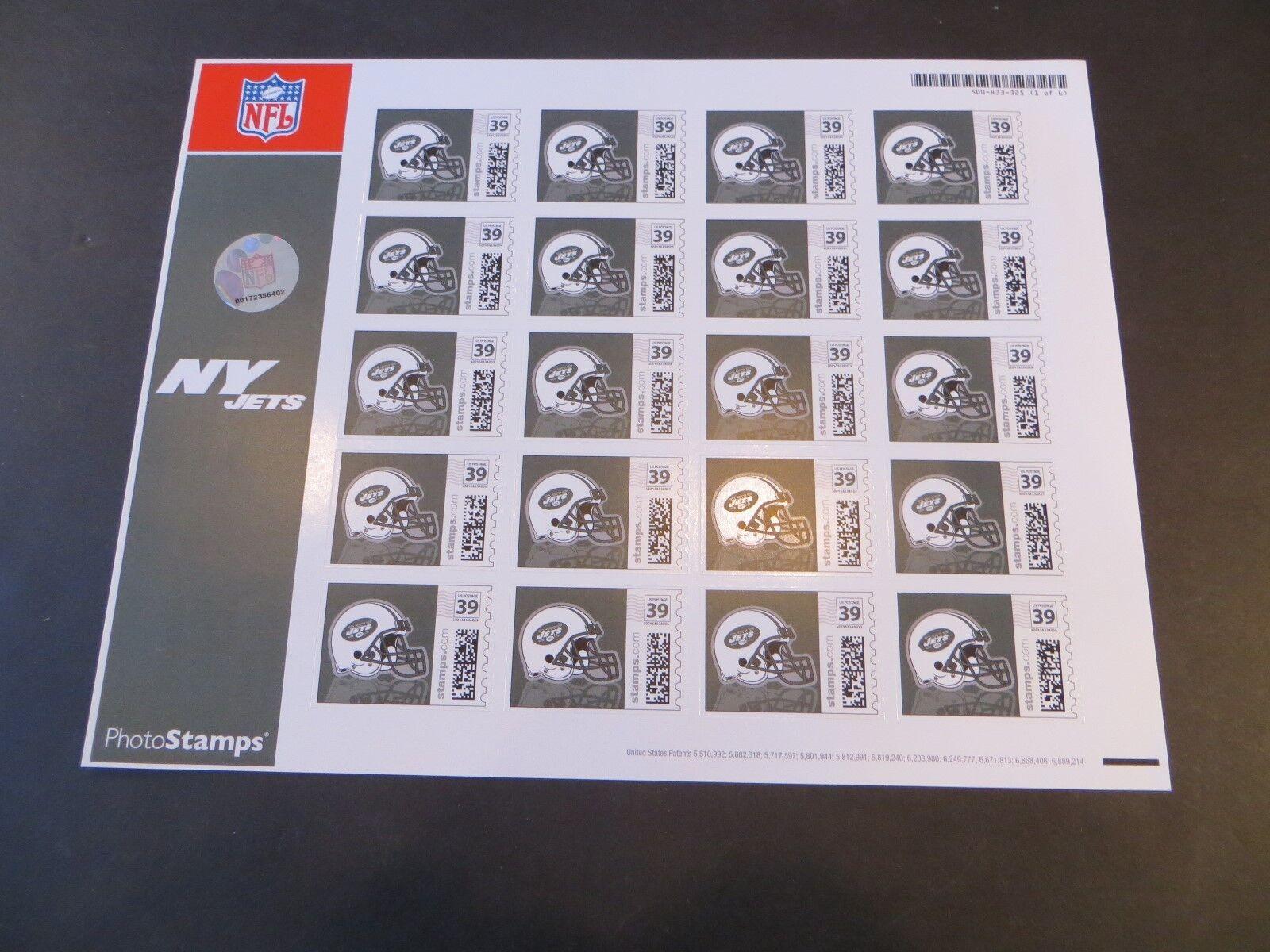 Raro 2006 New York Jets Nfl Fútbol-licened hoja de estampillas postales - 20  1 de 6