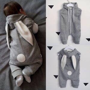 89342f7ad Newborn Infant Baby Girls Boys Rabbit Ear Hooded Romper Jumpsuit ...