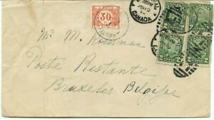 Scarce Scroll issue postage due to BELGIUM double weight 1930 Canada cover