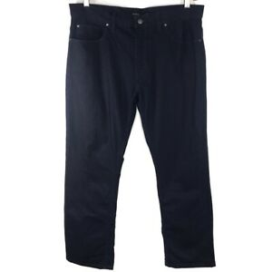 Autograph-Mens-Classic-Straight-Jeans-Blue-Dark-Wash-Zip-Fly-100-Cotton-36x29