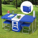 Multi Function Cooler Camping Outdoor w/ Table & 2 Chairs