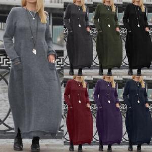 ZANZEA-Women-Sweatshirt-Shirt-Dress-Casual-Crew-Neck-Jumper-Midi-Dress-Plus-Size