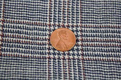 "Vintage 100% Wool Fabric Glen Plaid Houndstooth 63"" x 117"""