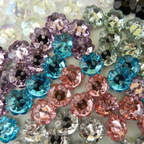 10 x strass fleur boutons beaucoup de couleurs 12mm glitter /& beautiful