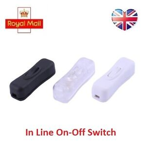 10A 250V AC On-Off Cord Line Rocker Button Switch Lamp Electrical UK Seller