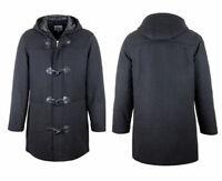 Mens Duffle Coat Size S - 3xl Black, Woolblend, Zip & Toggle Fastening