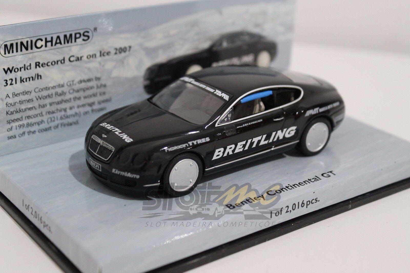 Minichamps 436139026 Bentley Continental GT. AUTO RECORD MONDIALE SUL GHIACCIO 2007  NEW