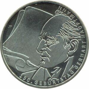 Allemagne 2012 J 10 EURO 150 ANS NAISSANCE DE GERHART HAUPTMANN BE