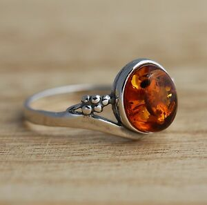 Cognac-Baltic-Amber-925-Sterling-Silver-Ring-Jewellery