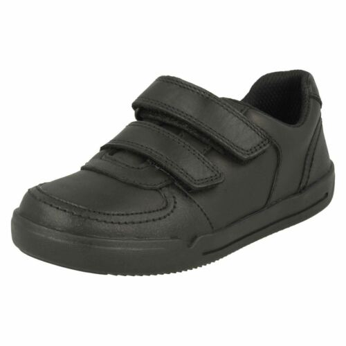 Clarks Mini Racer Boys Rip Tape Black Leather Shoes G-Fit UK 8 to 12.5 R43B