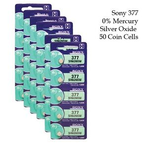Sony-SR626SW-377-1-55V-Silver-Oxide-Watch-Battery-0-Hg-50-Coin-Cells