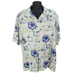 Tommy-Bahama-Aloha-Hawaii-Shirt-Floral-Silk-Button-Front-Kurzarm-Herren-XXL