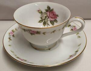 Vintage-Noritake-China-RC-Royal-Crockery-Cup-amp-Saucer-c1935-40s-Pink-Rose-Japan