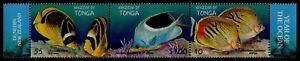 TONGA, SCOTT # 1008, STRIP OF 3 VARIOUS FISH, INTERNATIONAL YEAR OF OCEAN, MNH