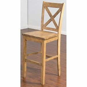 Cross Back 30 Wood Bar Stool In Desert Sand 741360765771 Ebay