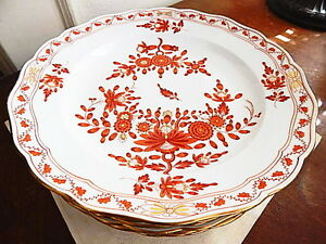 Image is loading Meissen-INDIAN-Red-Orange-Rust-Coral-Dinner-Plates- : dinner plates india - pezcame.com
