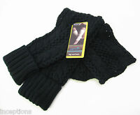 Lemon Cuffed Lacy Knit Leg Warmers Boot Toppers Black -