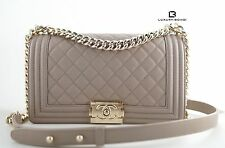 NWT CHANEL Le Boy Old Medium Taupe Grey Caviar Flap Bag Gold Hrdware LIMITED ED