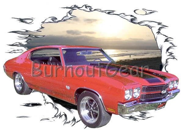 1970 ROT Chevy Chevelle SS b Custom Hot Rod Sun Set T-Shirt 70 Muscle Car Tees