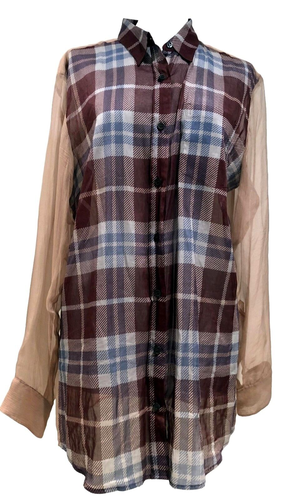 DRIES VAN NOTEN SEMI-SHEER PLAID SHIRT BLOUSE, 40,