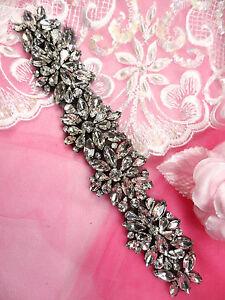 Black backing crystal rhinestone applique glass bridal sash patch 8
