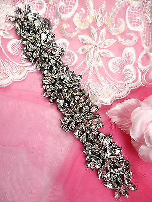 "JB177 Black Backing Crystal Rhinestone Applique Glass Bridal Sash Patch 8"""