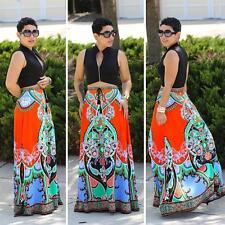 Summer Women Boho Tribal Floral Skirt Casual Stretch Beach Long Skirt Maxi Dress