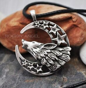 Antique-Silver-Plt-Wolf-Howling-At-Moon-amp-Stars-Pendant-Necklace-Norse-Viking