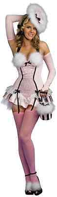 Powder Puff Coquette French Maid Pink Fancy Dress Halloween Sexy Adult Costume