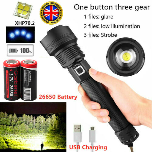 Powerful 90000 Lumens xhp70.2 LED Ultra Bright USB Rechargeable Flashlight Torch
