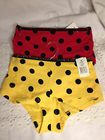 Joe Boxer Boy Shorts Red Or Yellow Polks Dots S L Or Xl Panty Bikini