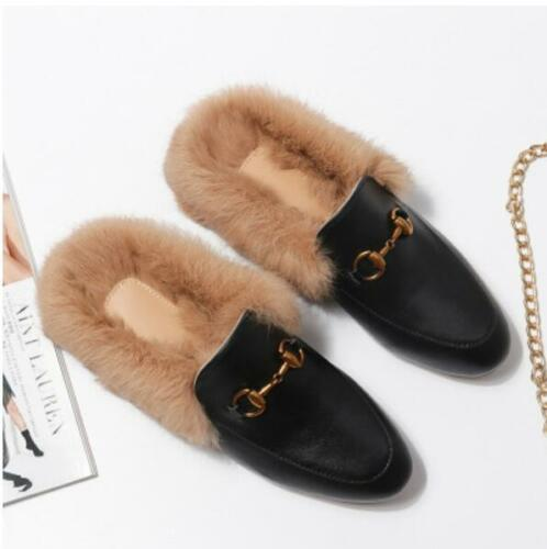Womens Embroidery Loafer Slipper Horsebit Leather Rabbit Fur Lined Mules Shoes