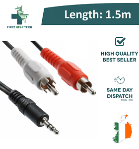 3-5mm-1-5m-Stereo-Jack-to-2-Twin-RCA-Phono-Male-Cable-TV-PC-Aux-Audio-Red-White