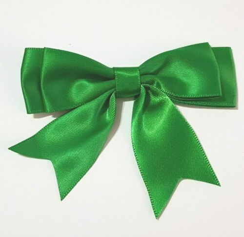 25mm SATIN RIBBON DOUBLE BOWS Pack of 5 20 Colours Large Ready Made 8.5cm