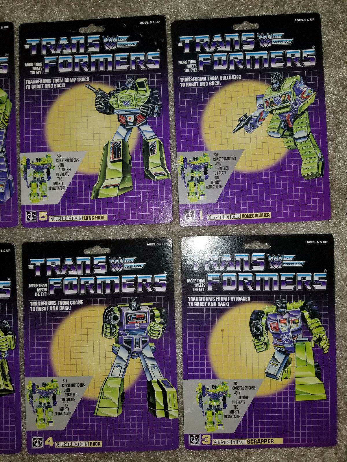 (7) (7) (7) TRANSFORMERS G1 DEVASTATOR CONSTRUCTICONS REPRODUCTION RESTORATION CARDS fca568