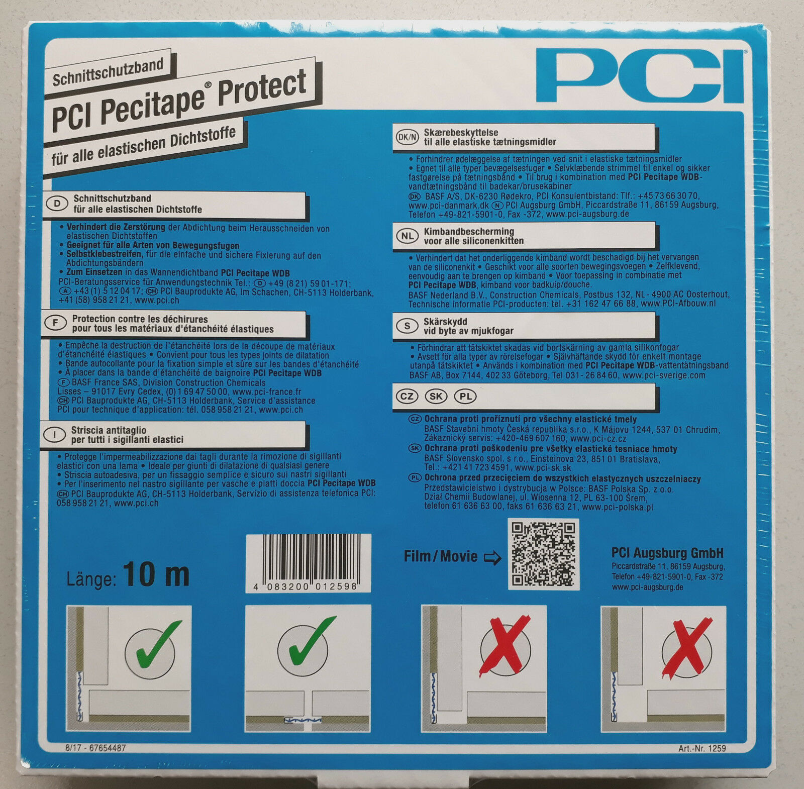 PCI Pecitape Protect 10m Schnittschutzband alle elastischen Dichtstoffe Abroller