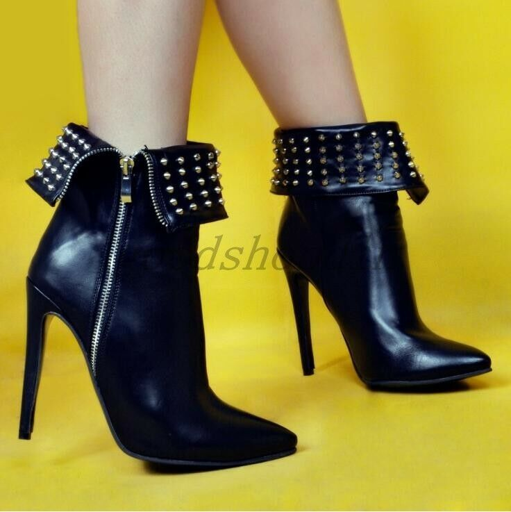 Punk Womens Leather Pointed Toe Rivet Spike Bootie High HEELS Ankle Boots 4-12.5